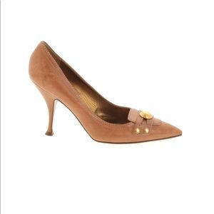 Dolce & Gabanna pointed toe tan leather heels 39